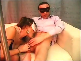 Amateur threesome with a lucky man banging two sluts