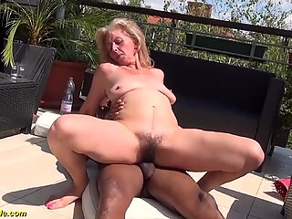 Hairy granny first interracial sex