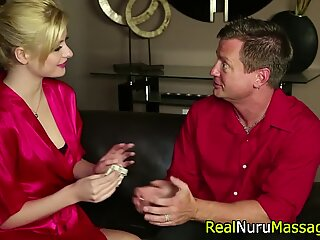 Blonde masseuse railed