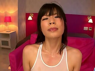 Saki Aoyama masturbation ends in an asian cum face