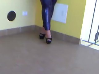 Italy Flat Sexy Latex Lady - Blowjob Handjob with Latex Gloves - Cum in my Mouth