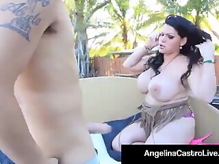 lush Princess Angelina Castro Bangs A Pool Boy's immense penis!