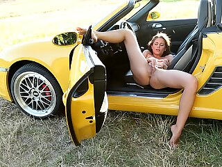 Little Caprice masturbating in Porsche