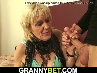 Blonde 70 years old granny in pantyhose