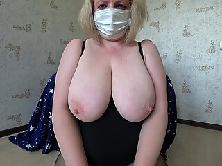 daughter with a belt dick, plumbs a milf with fat tits. shaking tits, POV