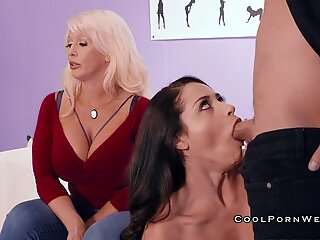 Lady teach hot brunette how to gives sucking