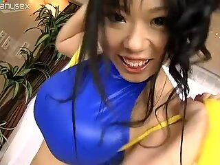 Shiny and amazingly busty Japanese babe Fuko stuns with her boobs