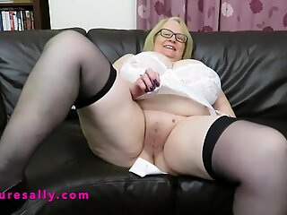Big tits Granny Sally in a hot white girdle