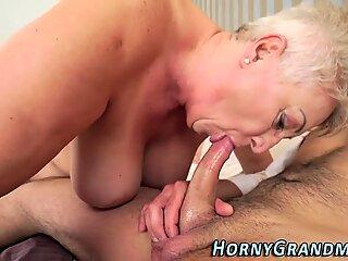 Busty granny mouth jizzed