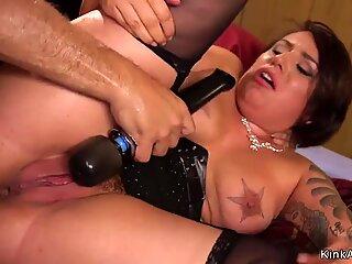 Tattooed nipples slut banged in bondage