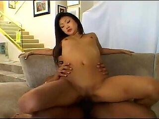 Lucy Lee stuffs her silky twat as she fucks fat cock
