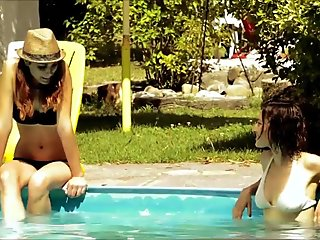 Italian lesbian kiss by the pool