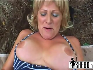 Blonde mature slut is over 60 years old and still starving for hard cocks