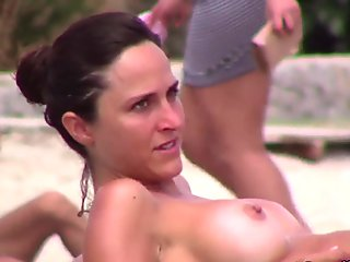 Big Fake Italian Tits rubbing lotion into them in Pink Bikini with Boyfriend