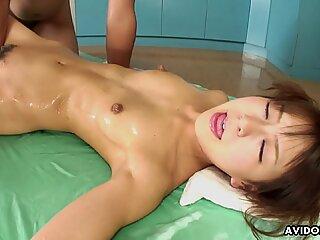 Skinny Asian idol and her partner enjoy sexy massa