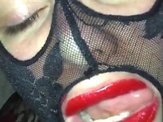 Red lipstick on husband cock