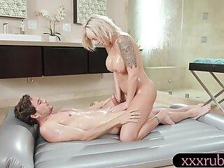 Huge juggs blond milf gives stepson a good nuru massage