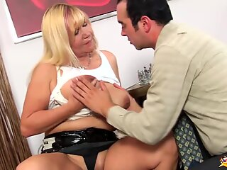 busty chubby mom gets rough doggystyle and tit fucked by her big cock toyboy