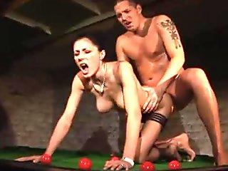 Sofia Cucci in black stockings fucked on the billiard table