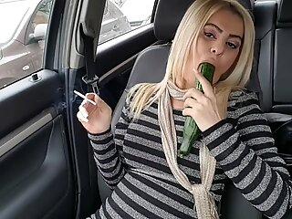 Public fuck with big cucumber until squirt- Car masturbation street
