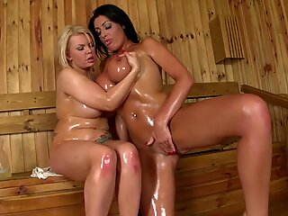 steamy, passionate duo: Busty Babes Fuck at the Spa