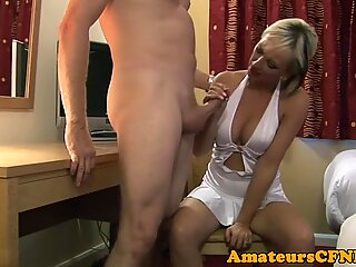 Stunning milf in lingerie sucking hard dick