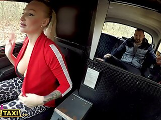 Female Fake Taxi Kayla Green creampied with her big boobs out