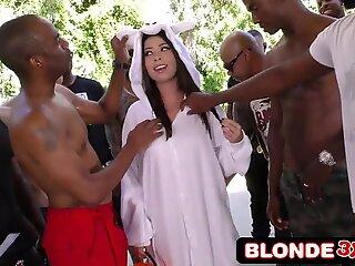 Halloween Babe Melissa Moore Gets Very Special Interracial Blowbang Treat