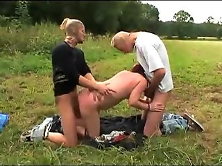 Farm old woman pissing in the country attacked and fucked