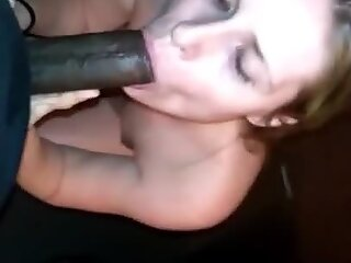 White slut worships BBC with her mouth