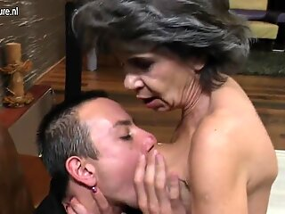 Old granny fucks not her son
