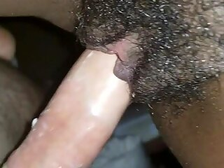 White cock fucks black pregnant wife, new Year slow fuck