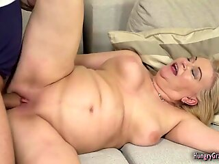Granny with big boobs banged really hard