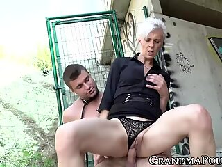 grandmother femdom wanks off before riding encaged dick