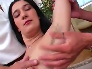 Two Men Fuck Hairy Girl and Lick Her Armpits