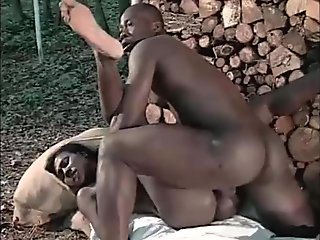 Afro-american slave has a black chick to fuck as a reward