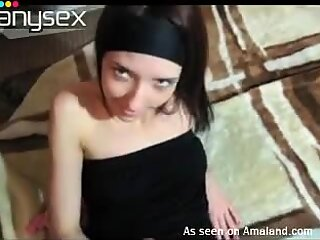 Beautiful brunette lady fucks missionary style on reality video