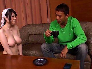 Subtitled irate man directs nudist Japanese maid