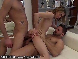 RoccoSiffredi French Teen Girl Takes 2 Cocks Casting & Cumshots