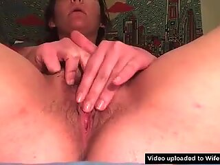 Playful chubby wife masturbating on webcam