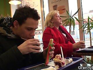 He picks up fat grandma for sex play