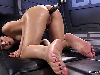 Busty hairy anal slut fucks machine