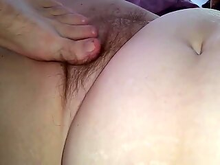 little cock play, foot rub, her playing with her own pussy