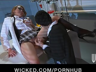 promiscuous chinese ginger-haired Jayden Lee rides her boss's dick at work