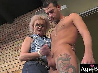 Granny Elvira sucks Johns boner like a pro