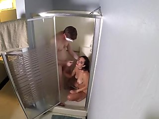 Sexy girl fucks and sucks stranger in shower