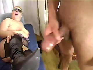 Amateur mature fat woman spanked and fucked by two men!