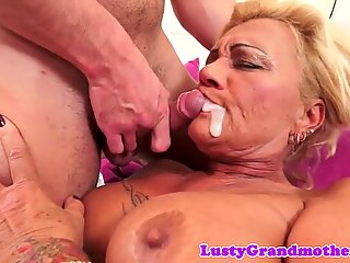 Bigtits granny sucks cock and gets fucked
