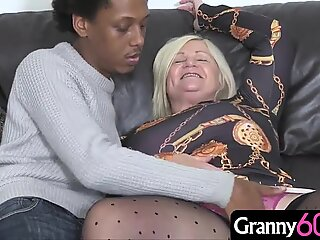 Hot granny enjoys a titty fucking and an ass thumping with a thick black cock