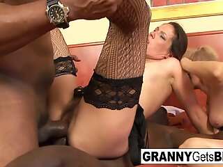 Two mature sluts get jizzed on by BBC!